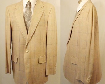 Italian Made 38R Lightweight Nicely Tailored Windowpane Gentry Blazer 3xdch6BNH