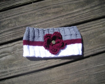 USMA, West Point hand knit headband with flower accent, black, gold and gray spirit or fristie colors