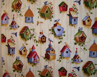 Birdhouse Fabric  By Brother Sister Design Studio OOP 2008 YKYI-50822-1 Quilting Yardage Rare