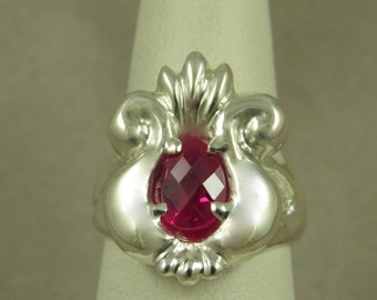 Sterling Silver Ring cast Set With Synthetic Ruby OOAK