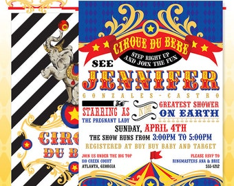 Circus Baby Shower Invitation - DIY Print - Vintage Cirque du Bebe - Made to Order - Printed Invitations in PRIMARY Colors