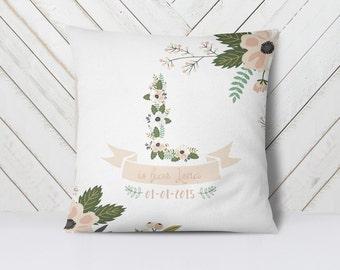 Personalized birth gift, Baby name cushion, baby girl nursery decor, baby shower gift, baby girl gift, personalized pillow, new baby gift