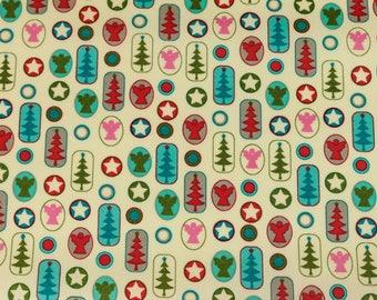 Laminated cotton fabric joyful Christmas motifs bunt on cream (17.50 EUR / meter)