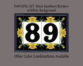 House Numbers Address Tiles - Framed Daffodil Set - Black or Blue Numbers and Border w/White or Cream Background