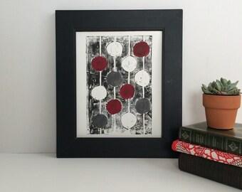 Marsala mid century modern monoprint 8x10 printmaking art