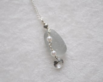 Sea Glass Jewelry Beach Necklace with Deep Grey and Pearls and CZ stone Sterling Silver Free Shipping 7048