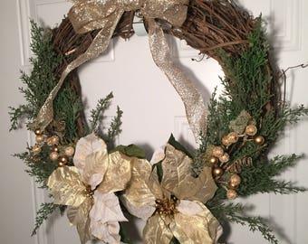 Poinsettia wreath, Grapevine wreath, holiday wreath, Christmas wreath