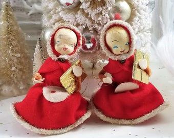 2 old santa figure doll ornaments Christmas cotton spun antique dress