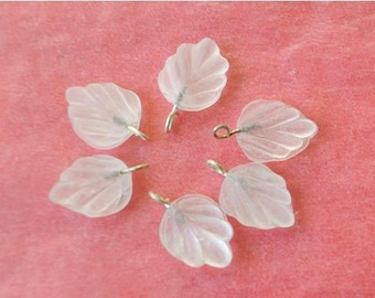 6 Vintage glass dangling beads leaf shape with self loop frosted white glass  15mmx12mm
