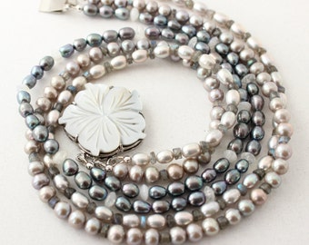 Triple Strand Pearl Necklace, Black Grey, Pearl Necklace, Large Shell Flower, 17.5 inch, Front Clasp