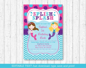 Mermaid Birthday Invitation / Mermaid Pool Party Invitation / Girls Pool Party Invitation / INSTANT DOWNLOAD Editable PDF A249