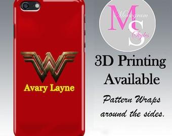 Monogram Superhero W Case Personalized Phone Case Monogrammed iPhone 4S 5C 5S iPhone 6 7 8 iPhone 6 7 8 Plus iPhone X Tough Case 3000
