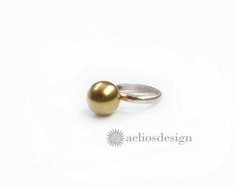 Brass and Sterling Silver Statement Ring - Cocktail Ring