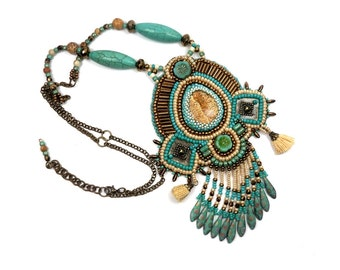 Necklace embroidered green turquoise, beige, Tan, fringed ethnic, Bohemian