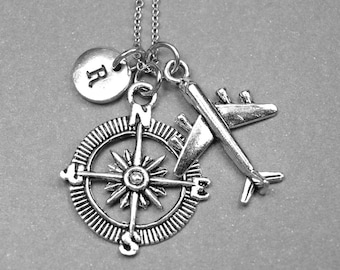 Compass necklace, airplane necklace, compass airplane necklace, long distance necklace, nautical jewelry, travel necklace, personalized
