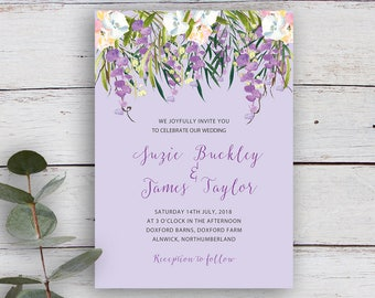 FLORAL CASCADE, DIY Printable Invitation Template, Watercolour Florals & Foliage, Lilac
