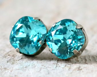 Light Turquoise | Swarovski Crystal | Cushion Cut | Swarovski Earrings | Square Earrings | Wedding Jewelry | Gift For Her | Blue Wedding