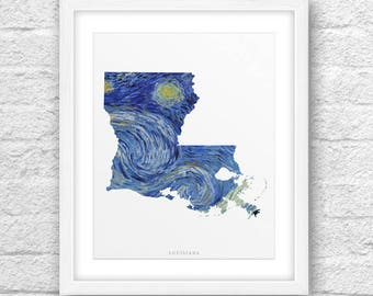 Louisiana Map, Louisiana Print, Louisiana Art, Louisiana State, Louisiana Starry Night, Van Gogh Art, Louisiana Printable ,Instant Download