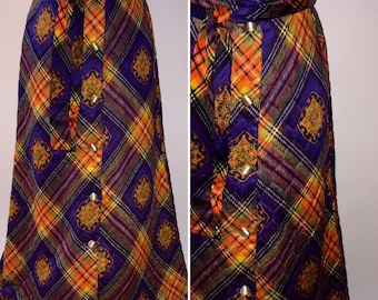 Vintage 1970s 70s Quilted Maxi Skirt Button Down Front Purple Yellow Orange Plaid MOD Size Small Medium