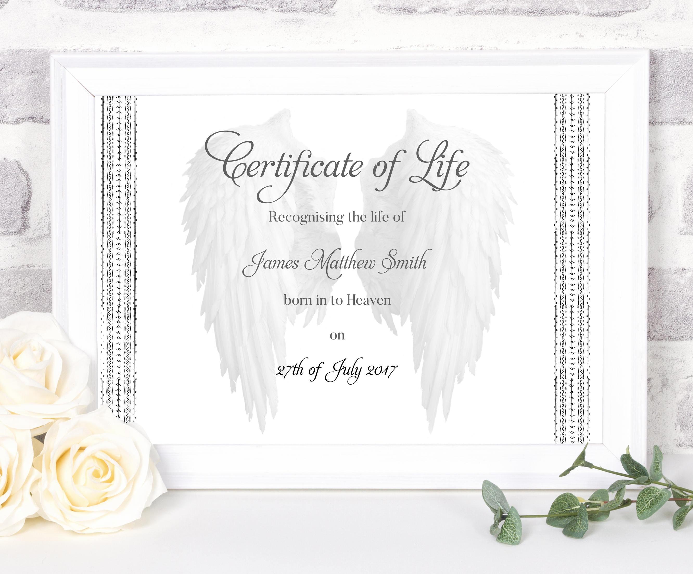 Certificate of life stillbirth memorial stillborn memorial description certificate aiddatafo Choice Image