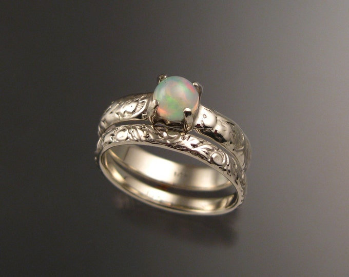 Opal and 14k white gold Natural Ethiopian Opal Wedding Ring Set Victorian floral pattern band made to order in your size