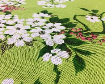 Vintage 70s Fabric 50 x 120 cm leaves linen