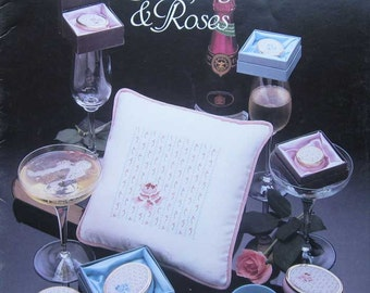 Champagne and Roses Cross Stitch Pattern Book Anne Brinkley