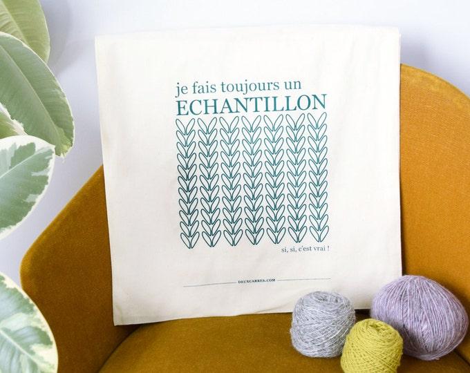 "Screen printed Tote Bag -  ( sac sérigraphié ""échantillon tricot"" )"