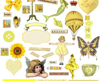 Ephemera Digital Collage Sheet, Pretty in Lemon Yellow Images Instant Download, PNG Included