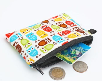 Owl Coin Purse, Cute Zipper Pouch, Small Padded Coin Wallet, Mini Zip Wallet, Card Pouch - green red brown blue yellow owls