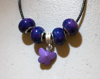 Butterfly Necklace, Purple Jewelry, Lavender Necklace, Butterfly, Beaded Necklace, OOAK Jewelry, Purple Butterfly, Birthday Gift