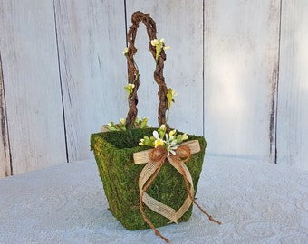 Small Moss Flower Girl Basket with Ivory Berries for your Woodland Wedding