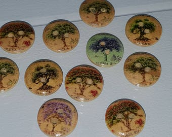 10 wooden buttons, buttons 15 mm tree pattern