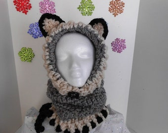 Gray  Woodlynn Wolf Hooded Cowl Crochet Hat by kams-store.com