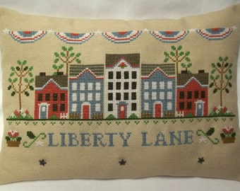 Patriotic Cross Stitch Mini Pillow  Fourth Of July Independence Day Shelf Pillow Made To Order
