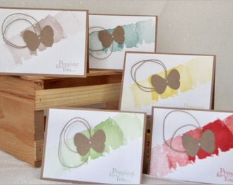 5 Praying for You Cards. Religious Greeting Cards. Christian Cards. Prayer Cards. Encouragement Card Set.  Butterfly Card Set