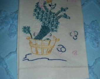 Vintage 50's Hand Emb Poodle In Bath Dog Puppy Towel,Runner,Napkin,French Knots