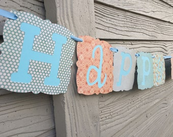 Orange and Blue Happy Birthday Paper Banner