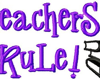 Instant Download School - Teacher's Rule - Custom Embroidery Digitized Embroidery Machine Embroidery Digital Design File