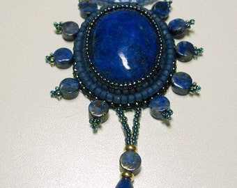 Lapis Lazuli Bead Embroidered Necklace