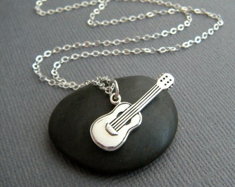 sterling silver guitar necklace. music musician. musical symbol. simple modern jewelry. song writer gift. acoustic instrument pendant