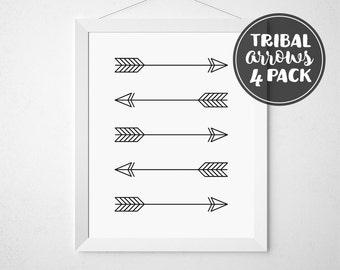 Arrow Art, Tribal Art, Printable Art, Arrows, Black and White Printable, Tribal Arrow Print, Printable Decor, Black Arrows, Cheap Art, Decor