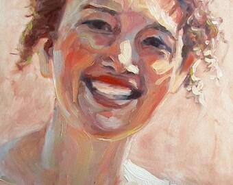 "Portrait Oil Painting of a Woman... ""Cat"", Original, Impressionistic, , Home Decor, Fine Art, 11 x 14"
