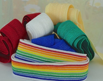 Elastic Rainbow Ribbon Fold over foe Trim Multi Sets 2ft each of 6 colors, Yellow, Red, White, Blue, Green Elastic by the yard