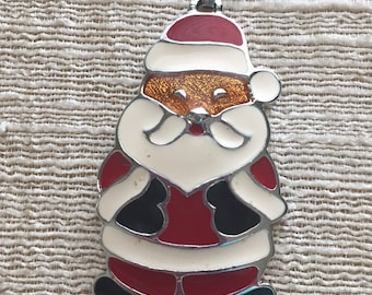 Vintage Enamel Santa Pendant by Wallace Silversmiths Estate Holiday Jewelry