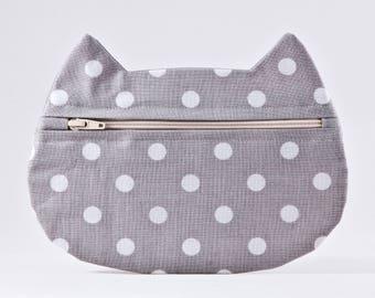 Gray Makeup Bag, Polka Dot Cosmetic Bag, Pills Case, Pencil Case, Cat Lover Gift, Zipper Bag, Toiletries Bag, Cat Cosmetic Bag, Gift for Her