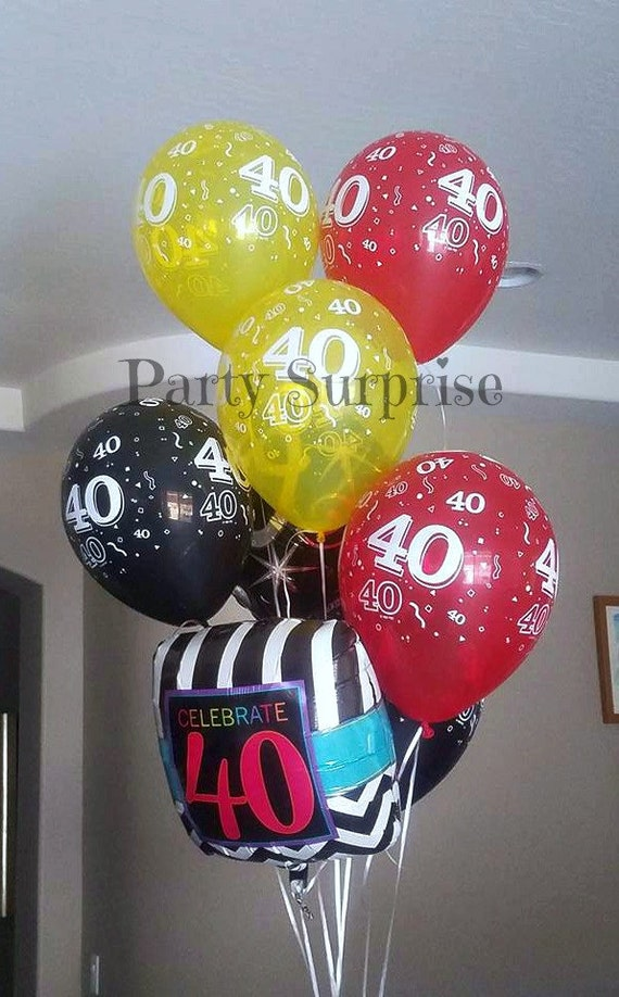 40th Birthday Balloons 40th Anniversary Balloons latex Black Red