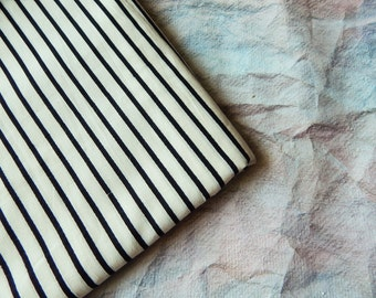 1 yard of Indian Cotton Fabric, Striped Fabric, White Fabric with Black Stripes, Shirt Fabric