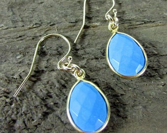 Turquoise Teardrop Earrings, Simple Earrings