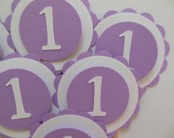 1st Birthday Cupcake Toppers - Lavender and White - Girl Birthday Party Decorations - Set of 6